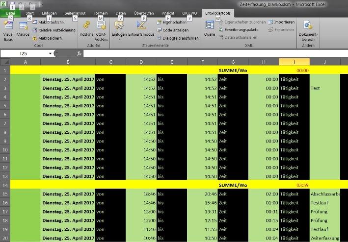 Excel Vorlage Fur Zeiterfassung Z B Fur Homeoffice Stefe S Blog